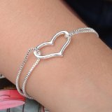 Fashion Brand 925 Sterling Silver Heart Love Chain Bracelet