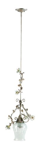 """Yosemite Home Decor Mgj776 Morning Glory Handmade One Light Mini-Pendant With Nouvel Cracked Glass In Caribbean Gold Finish, 13.5"""" X 57.5"""" front-436914"""