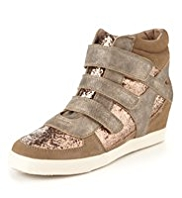Triple Riptape Glitter Hidden Wedge Trainers