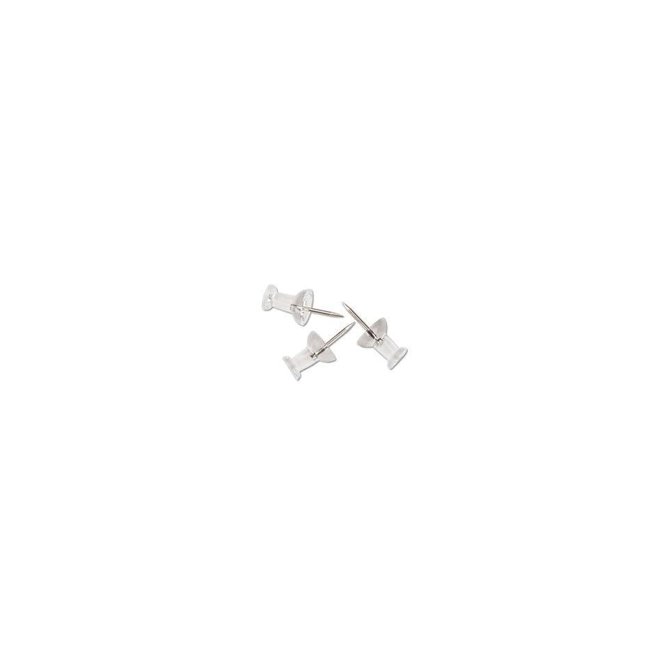 Plastic Head Push Pins, Plastic, Clear, 3/8, 100/Box