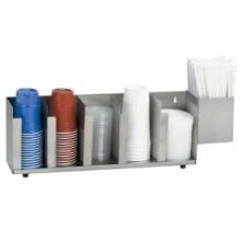 Dispense Rite CTLD Stainless Countertop Cup and Lid Organizer, 8 x 26 5/8 x 5 inch -- 1 each.