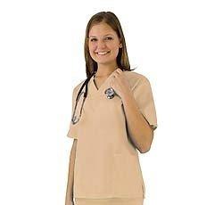 Women's Scrub Set - Medical Scrub Top and Pant, Khaki, Large (Discount Costume)