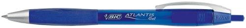 BiC Atlantis - Caja de bolígrafos de punta redonda de tinta de gel (12 unidades) color azul