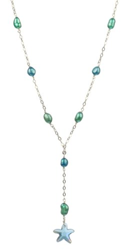 Y-Shape Sterling Silver Chain and Freshwater Pearl Necklace with Swarovski Elements Sea Blue Starfish Pendant Necklace, 18