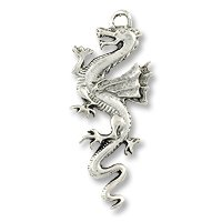 Pendant – Dragon 49x20mm Pewter Antique Silver Plated