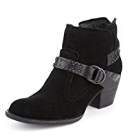 Indigo Collection Suede Studded Strap Ankle Boots with Insolia®