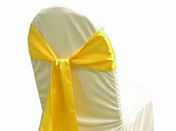 MDS Pack of 50 satin chair sashes bow sash for wedding and Events Supplies Party Decoration chair cover sash -yellow