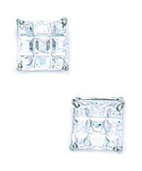 14k White Gold 6x6mm 9 Segment Square CZ Basket Set Earrings - JewelryWeb