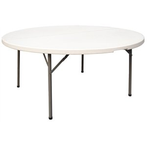 5ft Diameter Round Centre Folding Table - Centre folding 5 ft round table with fold away legs.