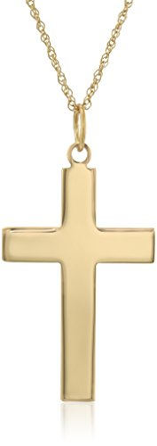 Men's 14k Yellow Gold Solid Large Polished Cross Pendant Necklace, 20″