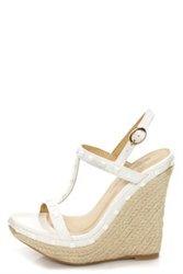 Wild Diva Lounge Madison-60 White Studded Espadrille Platform Wedge - 7 - White