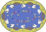 "Joy Carpets Kid Essentials Infants & Toddlers Oval Lamby Pie Rug, Multicolored, 5'4"" x 7'8"""