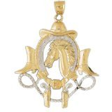 CleverEve 14K Yellow Gold Pendant Two Tone Cowboy Hat, Shoe, Guns, And Horse