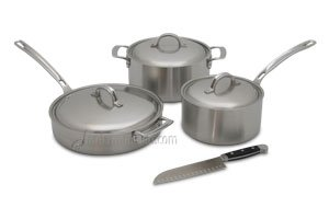 Viking Stainless Cookware Set with Bonus Santoku Knife - 6 Piece