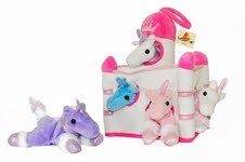 Plush-Unicorn-Castle-with-Animals-Five-5-Stuffed-Animal-Unicorns-in-Play-Carrying-Castle-Case-White
