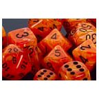 Chessex Dice: Polyhedral 7-Die Vortex Dice Set - Orange w/black CHX-27433