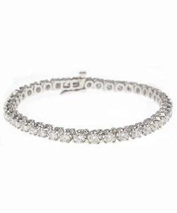 14k White Gold 6 CT TDW Round White Diamond Tennis Bracelet (G-H, I1)