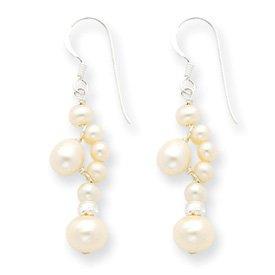 Sterling Silver White Cultured Pearl Earrings - JewelryWeb