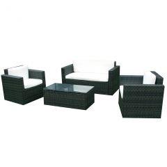 Gartenmoebel Cannes Rattan Lounge Möbel black Polyrattan Gartenausstattung von Jet-Line günstig kaufen