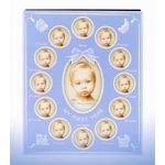 My First Year Baby Photo Frame & Album Blue Holds 60 Photos In Gift Box