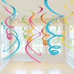 Multi-Color Plastic Swirl Decorations (Pack of 12)