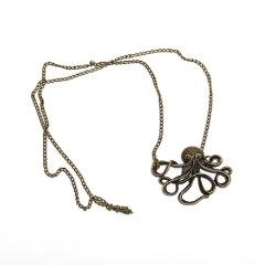 Long-Pendant-Chain-Steampunk-Nautical-Style-Vintage-Bronze-Octopus-Necklace