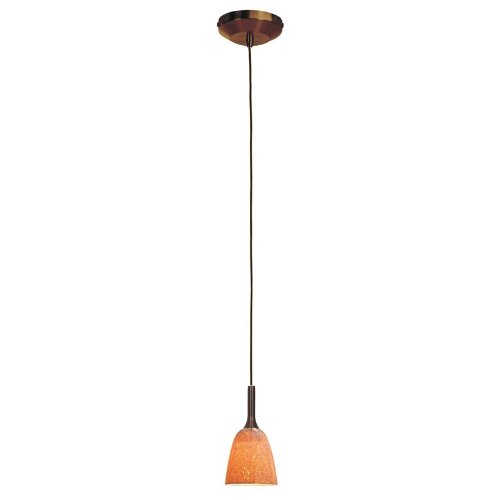 Access Lighting 96924-Brz/Sla Omega - One Light Pendant, Bronze Finish With Silver Amber Glass