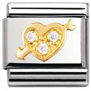 Composable Classic LOVE in stainless steel , 18k gold and Cubic zirconia (WHITE pierced heart)