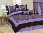 King Soft Micro Suede and Short Fur Zebra Printing Black / Purple Comforter Set
