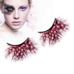 1 Pair Makeup Gadgets Pink Dot Feather False Eyelashes for Performance/Party (Pink+Black)