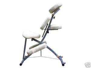 Cream Foldable Steel Portable Massage Chair w/Wheels
