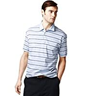 "2"" Longer Pure Cotton Striped Polo Shirt with Stay New™"