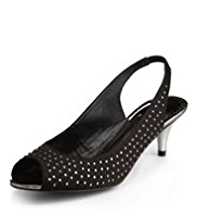 Per Una Peep Toe Diamanté Mid Heel Slingback Shoes with Insolia®