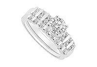 Diamond Engagement Ring with Wedding Band Set 14K White Gold - 0.65 CT Diamonds MADE IN USA