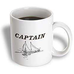 3Drose Traditional Nautical Term Captain With Sailboat Ceramic Mug, 15-Ounce