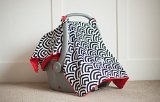 Carseat Canopy (Soloman) Baby Infant Car Seat Cover W/attachment Straps and Minky Fabric - 1