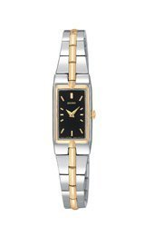 Women's Two Tone Stainless Steel Petite Dress Watch Black Dial