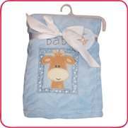 Blue Ultra Soft Blanket Giraffe Embroidery - 1