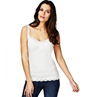 Indigo Collection Pure Cotton Lace Trim Vest Top