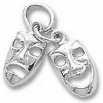 Rembrandt Charms Comedy Tragedy Charm - Sterling Silver