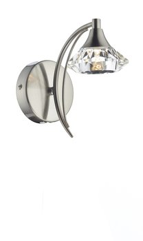 LUTHER 1 Light Satin Chrome Wall Bracket with Crystal Glass