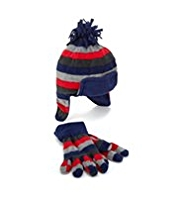 Striped Fleece Hat & Gloves Set