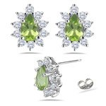 0.40 Diamond & 0.90 Cts Peridot Cluster Earrings
