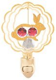 Rabbit In Scalloped Circle Night Light In 24K Gold Plated ..... With Red Color Swarovski Austrian Crystal front-782366