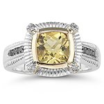 0.12 Ct Diamond & 1.23 Cts Yellow Beryl Ring in Silver and Gold