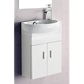 ELITE SINKS SET EC9888P Melamine Wall-hung Vanity w/2 Doors INCLUDING EC9888-L Porcelain White Wall-Mounted Oval Left-Facing Sink
