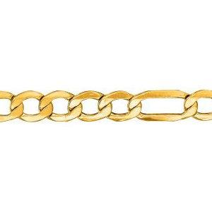 10K Solid Yellow Gold Figaro Lite Chain Necklace 5.4mm thick 20 Inches