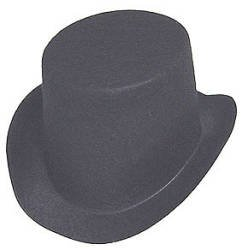 "Black Flocked Felt Top Hats - Size: 4-7/8""w X 5-1/2""l X 2-1/4""h - Package of 6"