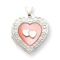 Sterling Silver Pink MOP 2 Heart 2-Frame Heart Locket - JewelryWeb