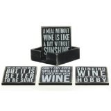 Primitives By Kathy - Box Sign Coasters - Wine (Set of 4)